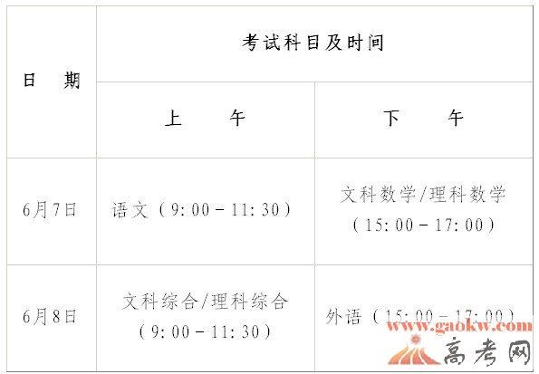 2013广东高考考试时间及考试科目安排-广东高