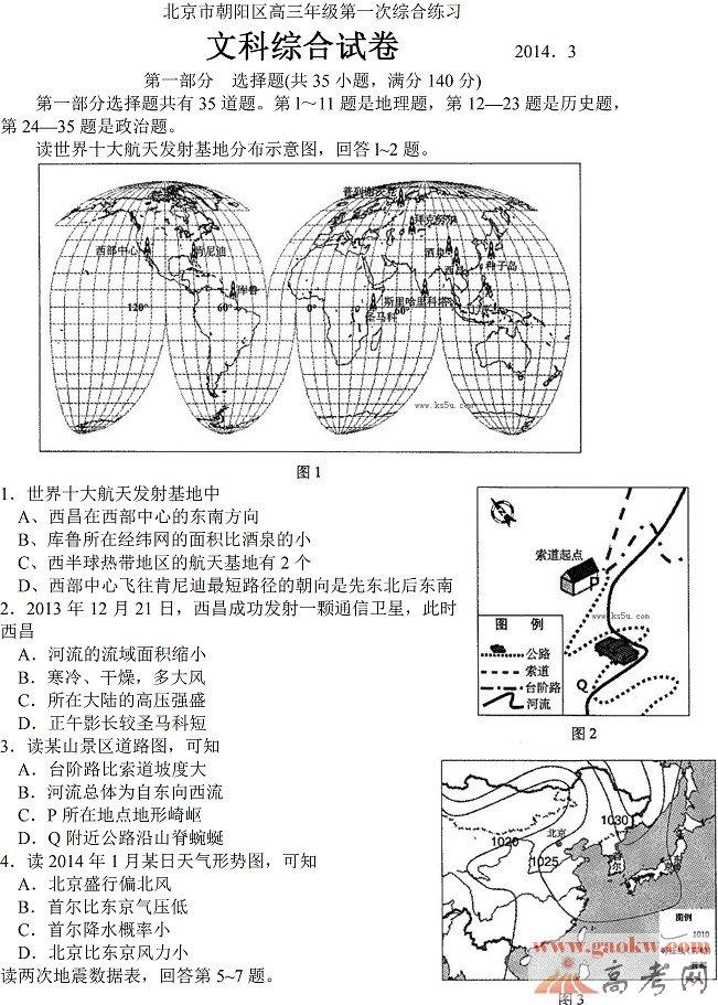 2014朝阳一模文综试题及答案1