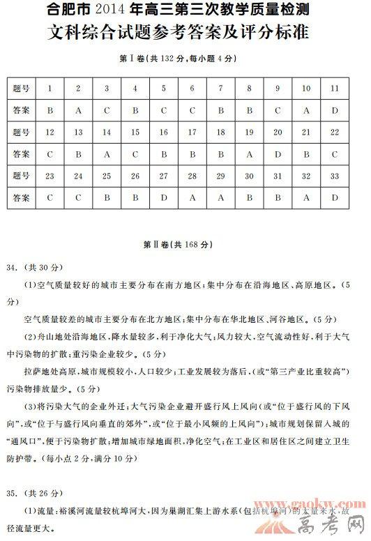 2014合肥三模文综试题答案【文科综合】1