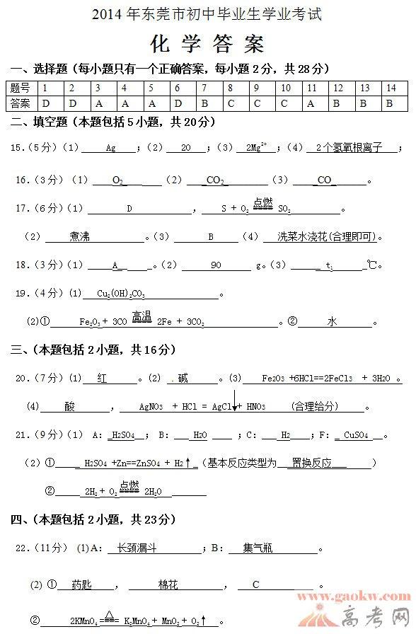 2014年东莞学业大全v学业化学试题初中-广东中名字初中答案相册图片