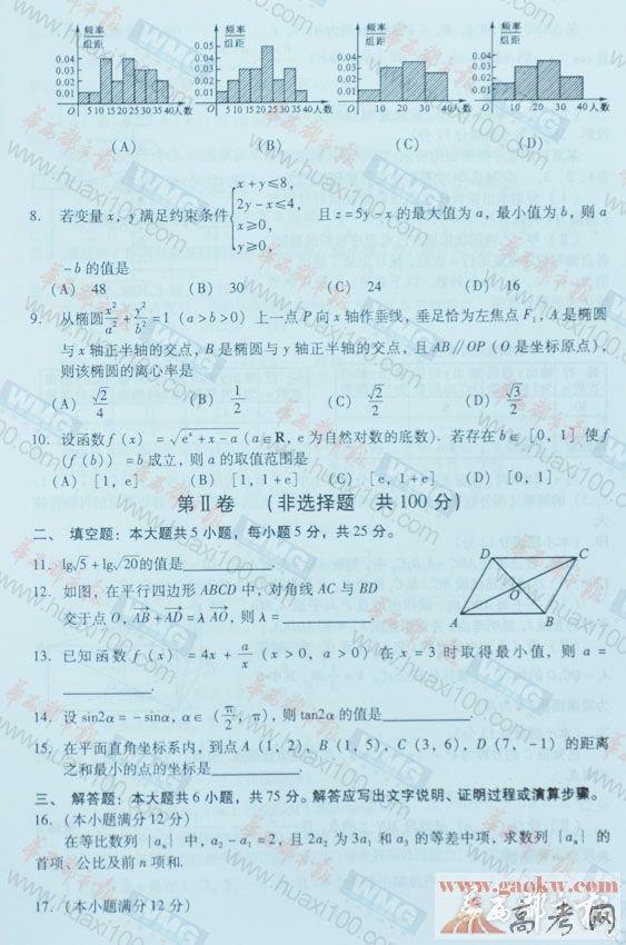 2014四川高考文科数学试题及答案2