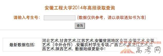 2014安徽工程大学录取查询
