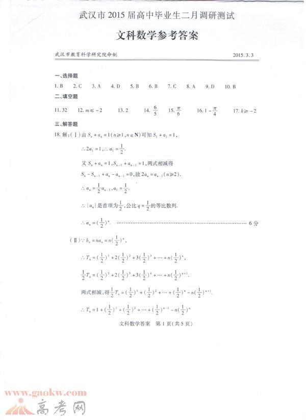 2015武汉二月调考文科数学试题答案