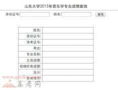 山东大学2015年音乐学专业成绩查询