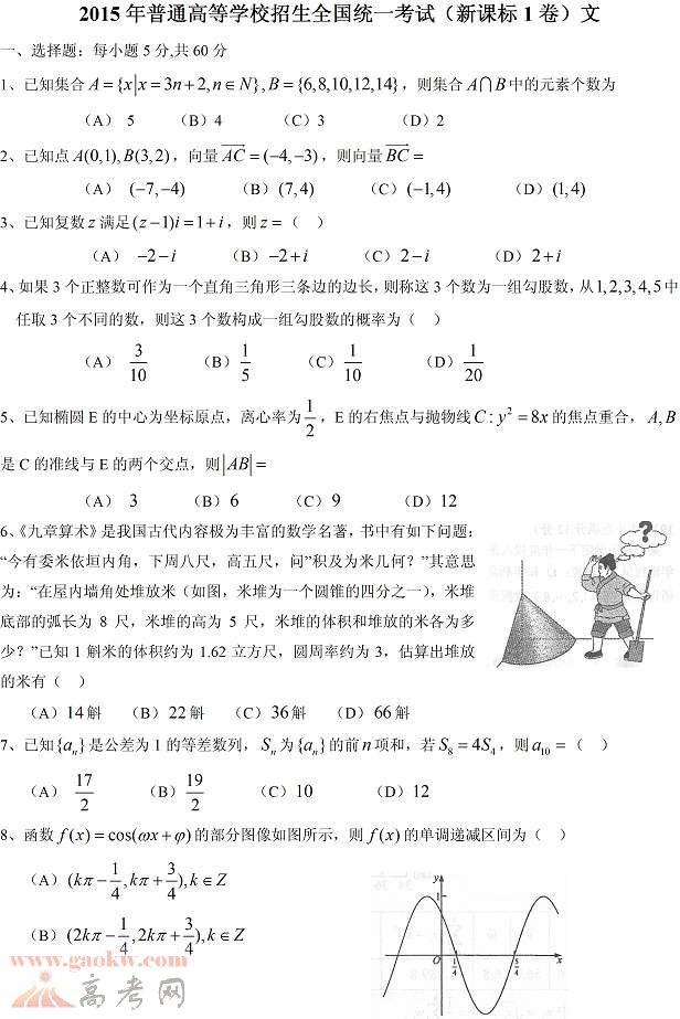 2015新课标高考文科数学试题答案1