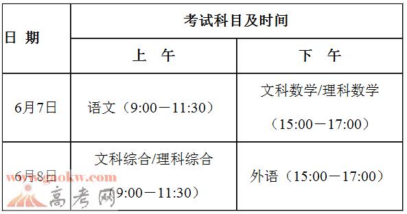 2017广东高考时间及考试科目安排