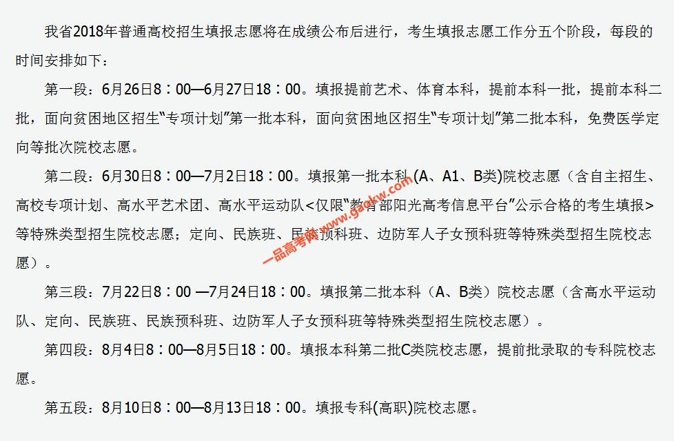 山西省2018年普通高校招生填报志愿日程安排
