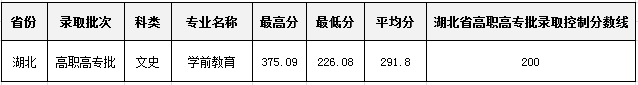 合肥幼儿师范高等专科学校 2018年高招各专业录取情况统计表-湖北