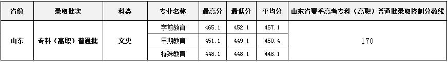 合肥幼儿师范高等专科学校 2018年高招各专业录取情况统计表-山东