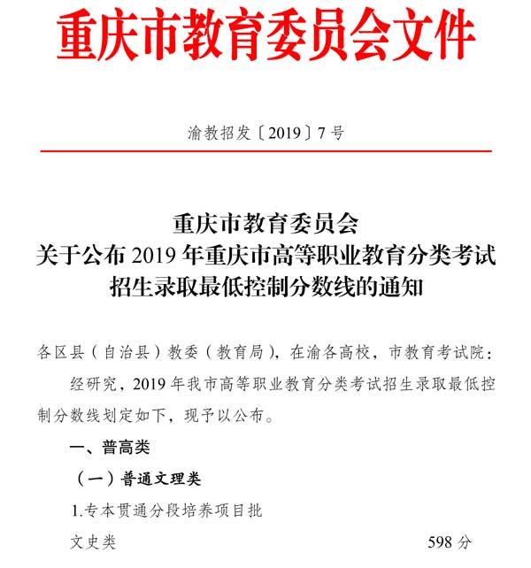 2019年重庆高职分类考试招生录取分数线