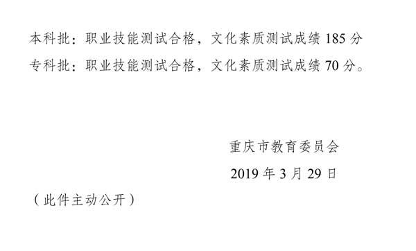 2019年重庆高职分类考试招生录取分数线4