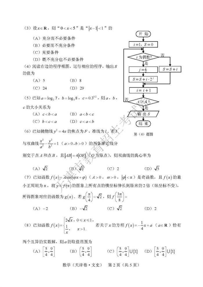 2019天津高考文科数学试题及答案2