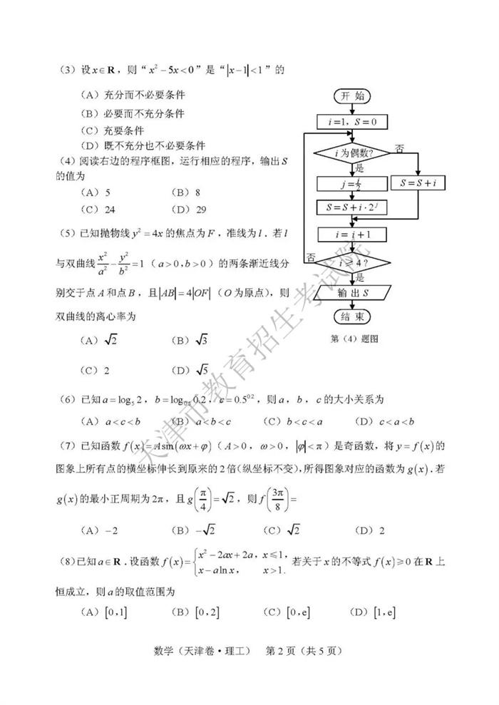 2019天津高考理科数学试题2