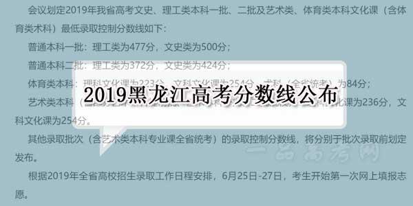 2019黑龙江高考录取分数线公布