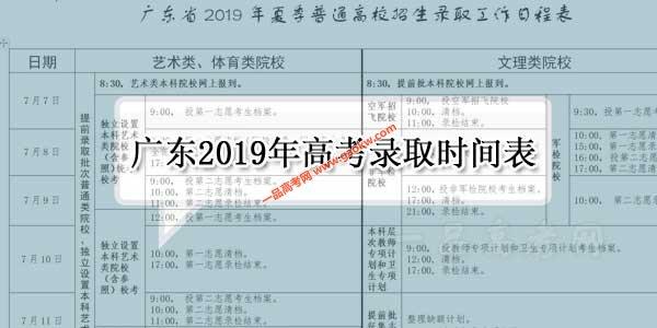 广东省2019年高考各批次录取时间表公布