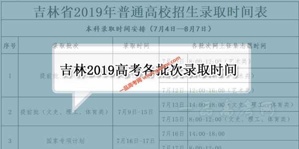 吉林省2019年高考各批次录取时间表