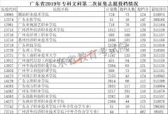 广东省2019年专科第二次征集志愿投档线