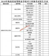 海南科技职业学院2019年单招招生专业目录