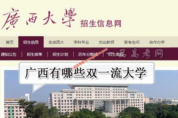广西有哪些双一流大学(无世界一流大学,1所世界一流学科高校)