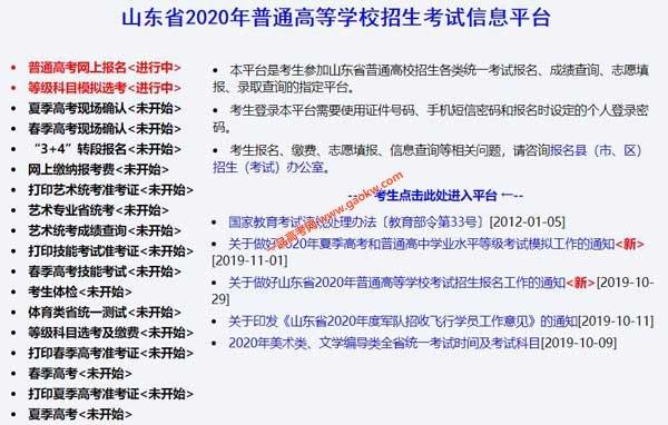 山东省2020年普通高等学校招生考试信息平台