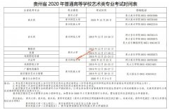贵州省2020年艺术类专业考试时间表