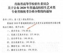 青海2020年艺术类专业省级统考合格分数线