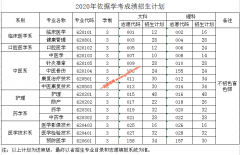 肇庆医学高等专科学校2020年依据学考成绩招生计划