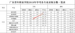广东青年职业学院2019年学考、普通高中招生录取分数情况