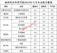 福州外语外贸学院2019年专升本录取分数线