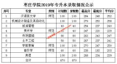枣庄学院2019年专升本投档录取分数线