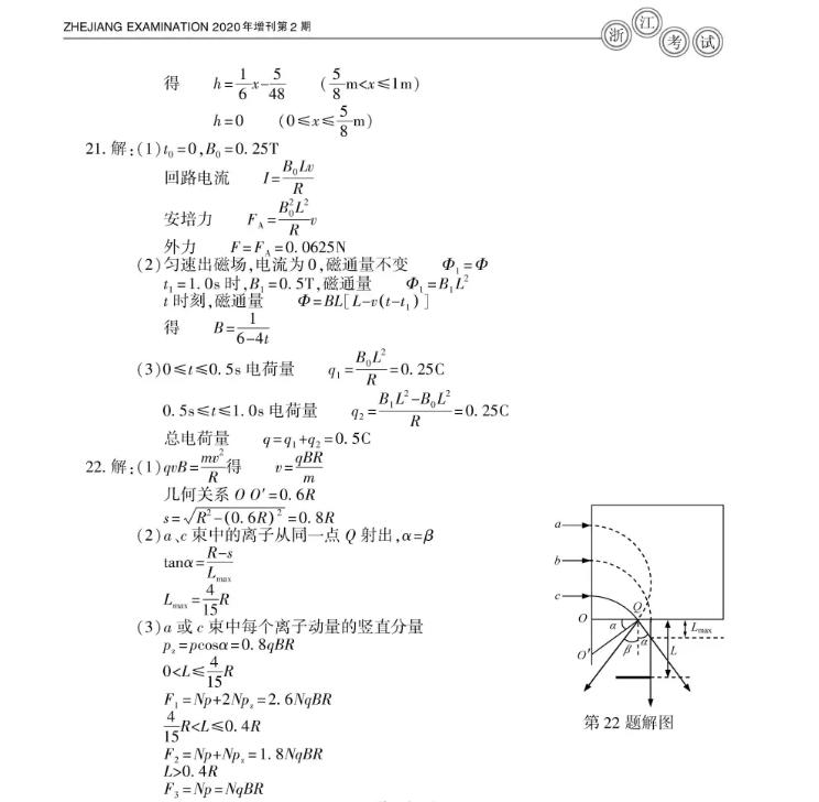 2020浙江高考物理真题试卷7