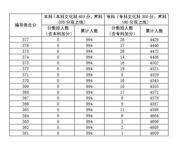 广东省2020年普通高考广播电视编导类总分分段统计表3