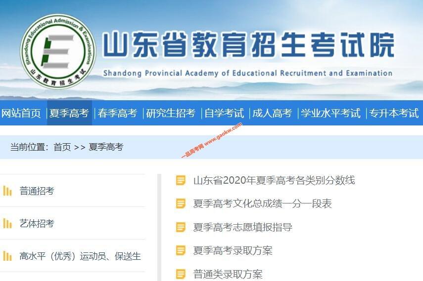 山东省2020年夏季高考与高中学业水平等级考试成绩查询