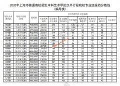 2020年上海本科艺术(编导类)甲批平行段院校专业组投档分数线
