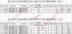 贵州2020年国家专项计划第3次,地方专项计划第2次补报志愿投档线