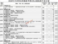 山东省2020年艺术类和春季高考第2次志愿院校专业计划
