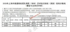 2020上海高职(专科)艺术批院校(类别)投档分数线(播音与主持艺术