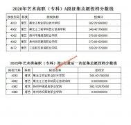 2020年黑龙江艺术类高职(专科)批A段征集志愿投档分数线及最后