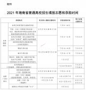 2021年海南高考志愿填报和录取时间安排