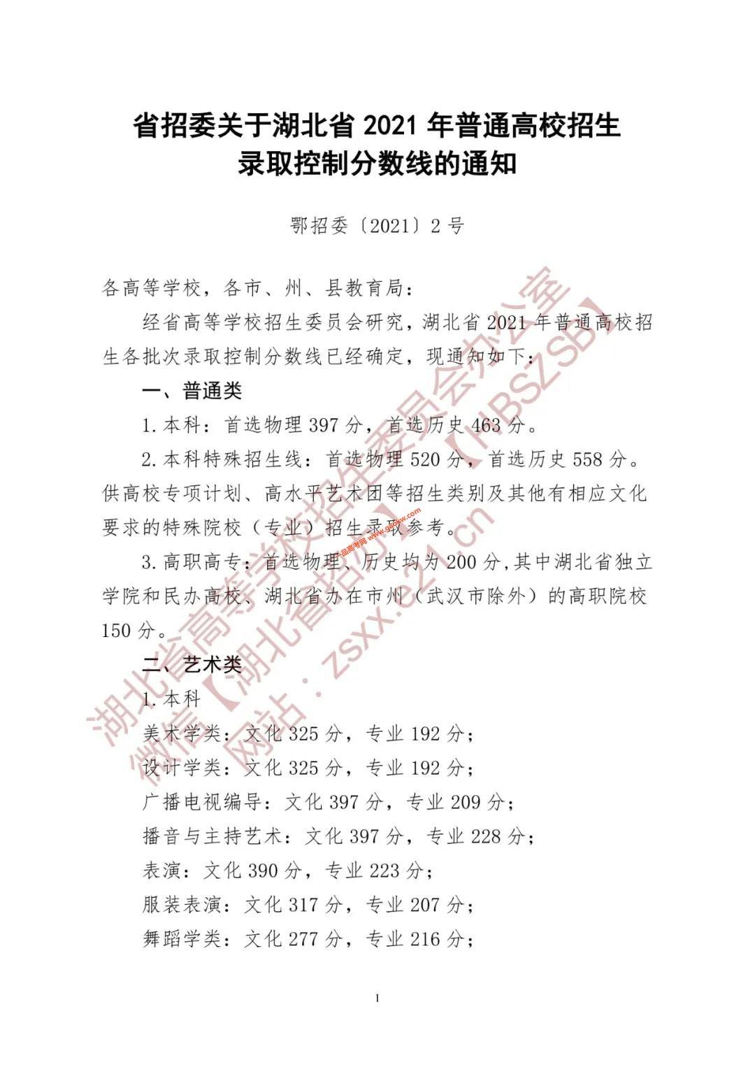 湖北省2021年普通高校招生录取控制分数线