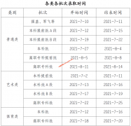 2021年重庆普通高校招生录取时间安排