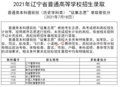 2021年辽宁普通高等学校招生录取普通类本科提前批录取最低分(征集志愿)